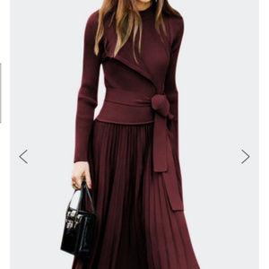 StyleWe Two-Piece Burgundy Pleated Skirt Set - NWT
